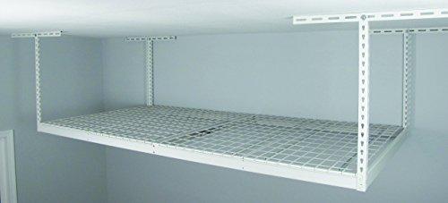 "SafeRacks - 4x8 Overhead Storage Rack Heavy Duty (24-45"" Ceiling Drop) - White"