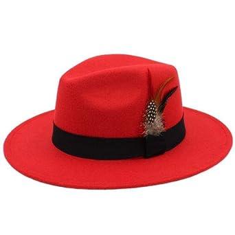 76eb6c8edfe74 Wide Brim Sombrero Panama Fedora hat (RED) at Amazon Men s Clothing ...