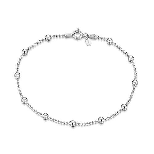 Amberta 925 Sterling Silver 3.2 mm / 1.1 mm Ball Bead Chain Bracelet Length 7
