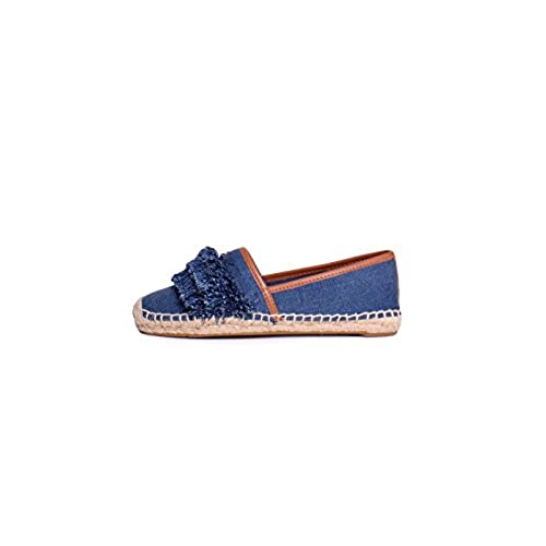 a817e2f86 Tory Burch Shaw Fringe Espadrille Flats Shoes Denim Blue 8.5 cheap ...