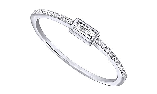 (AFFY 1/10Ct Real Baguette Cut Round Cut Diamond 10K Solid Gold Engagement Wedding Stackable Band Ring)