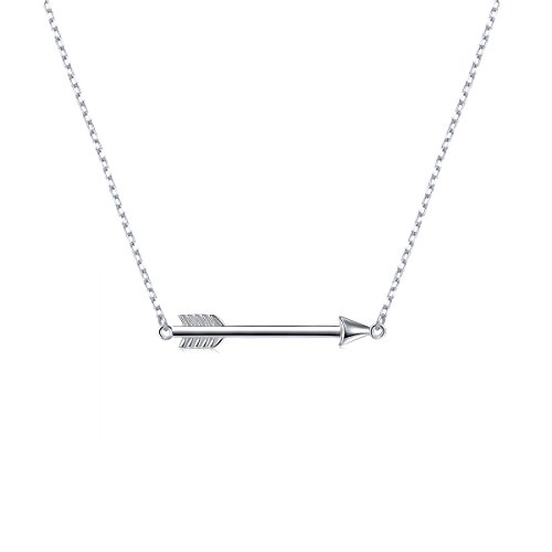 (S925 Sterling Silver Classic Love Polished Sideways Arrow Necklace )