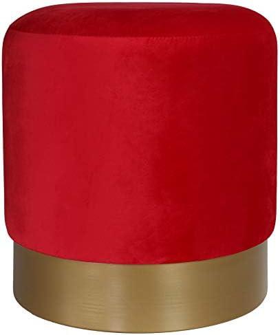 Cortesi Home Sheppe Cylindrical Ottoman 18″ Red Velvet