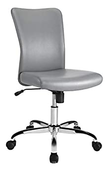 Brenton Studio Birklee Faux Leather Task Chair, Gray Chrome Silver