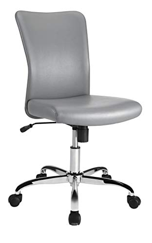 ee Faux Leather Task Chair, Gray/Chrome Silver ()