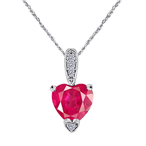 MauliJewels 1.15Ct Ttw White Gold Heart Shape Gemstone and Diamond Pendant in 10K with 18 Rope Chain
