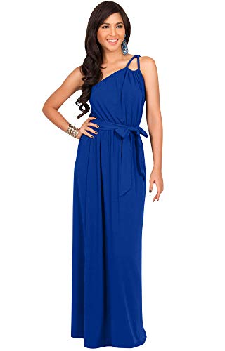 (KOH KOH Plus Size Womens Long Sleeveless One Shoulder Cocktail Evening Formal Bridesmaid Bridal Wedding Party Summer Sexy Cute Maternity Gown Gowns Maxi Dress Dresses, Cobalt Royal Blue 2XL 18-20)
