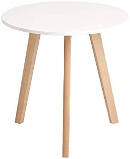 CangLong Modern Round End Side Kitchen Living Leisure Pedestal Wooden Coffee White Dining Room Home Furniture Table