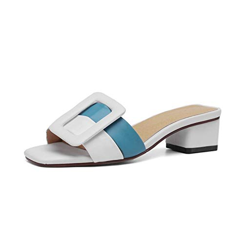 Glad You Came Peep Toe Mixed Colors Summer Slippers Concise Outdoor White Square Heel Shoes Woman 2019 Genuine Leather Ladies Slipper,Sky Blue,41 (In Furniture Cheap Edmonton)