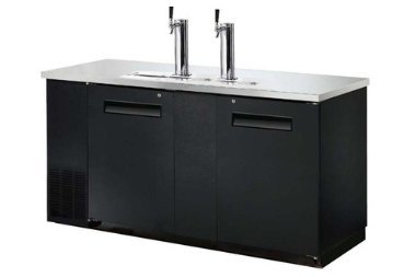 "UDD-3 69"" Two Door Draft Beer Dispenser with 2 Tap Towers - (2) 1/2 Keg Capacity"