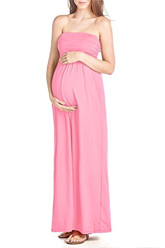 Beachcoco Women's Maternity Comfortable Maxi Tube Dress (XL, Pink)