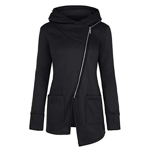 Sweatshirt, Womens Long Sleeve Jacket Coat Long Zipper Sweatshirt Outwear Tops (M, Black) ()