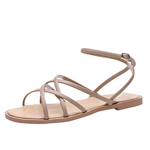 - MmNote Women's Summer Open Toe Breathable Beach Sandals Cross Straps Buckle Shoes Brown