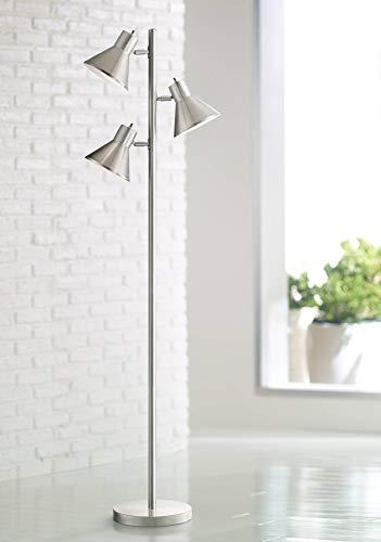 (Luken Modern Floor Lamp 3-Light Tree Brushed Steel Adjustable Heads for Living Room Reading Bedroom Office - 360 Lighting)