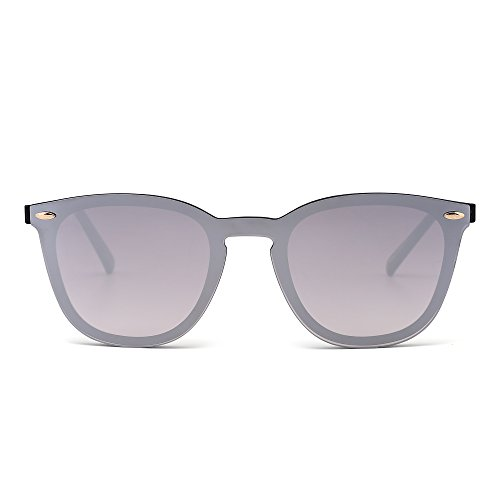 (JIM HALO Rimless Sunglasses One Piece Mirror Reflective Eyeglasses for Men Women (Shiny Black/Mirror Sliver))