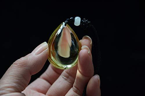 Real Tibetan Himalayan High Altitude Clear Yellow Citrine Crystal Quartz Pendant 1.53 Inch Spiritual Reiki Healing