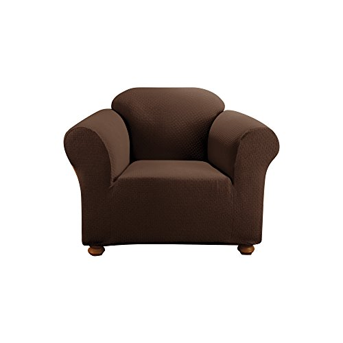 Arm Chair Box Cushion - SureFit Simple Stretch Subway 1-Piece - Chair Slipcover  - Chocolate (SF44257)
