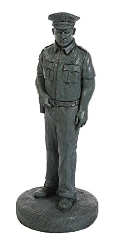 Solid Rock Stoneworks Decorative Policeman Stone Statue 25in Tall Indigo Color For Sale