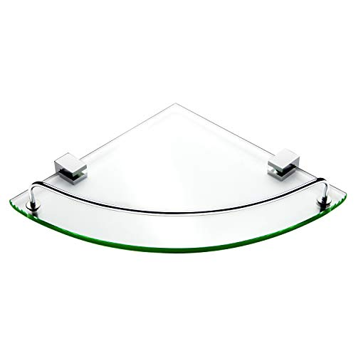 Glass Shower Shelves - Vdomus Bathroom Tempered Glass Corner Shelf, Stainless Steel Shower Shelf with Rail [Updated]