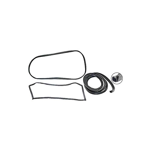 MACs Auto Parts 48-48513 Ford Pickup Truck Cab Weatherstrip Kit - With Chrome Windshield Mouldings & With Stationary Rear Window - F100 Thru F350