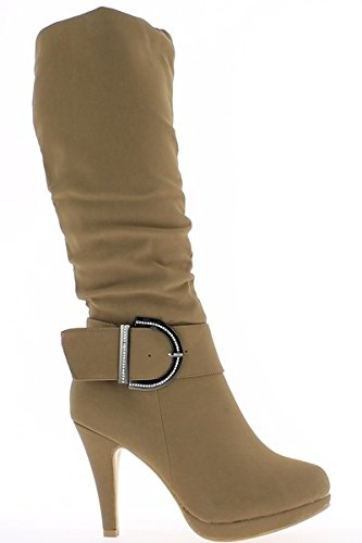Stiefel Damen Taupe 10cm Absätze und Plattform von 1,5 cm