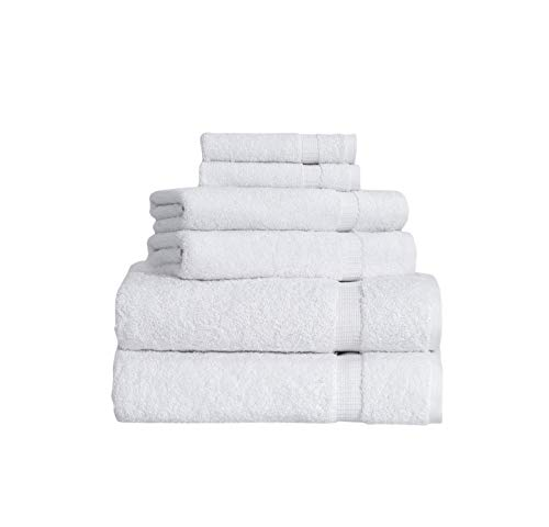 SALBAKOS 6 Piece Bath Towel Set – Turkish Luxury Hotel & Spa Collection – OEKO-TEX Organic – Eco-Friendly Turkish Cotton (White)