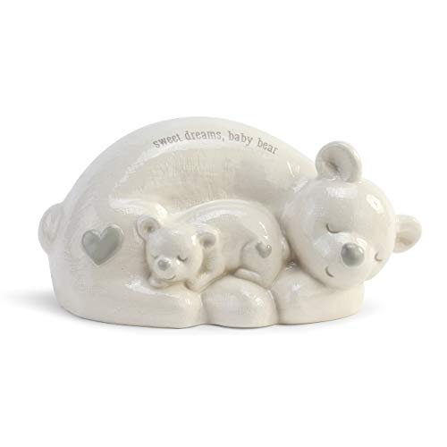 DEMDACO Sweet Dreams Baby Bear Classic White 8 x 4 Glossy Ceramic Toy Piggy Bank -