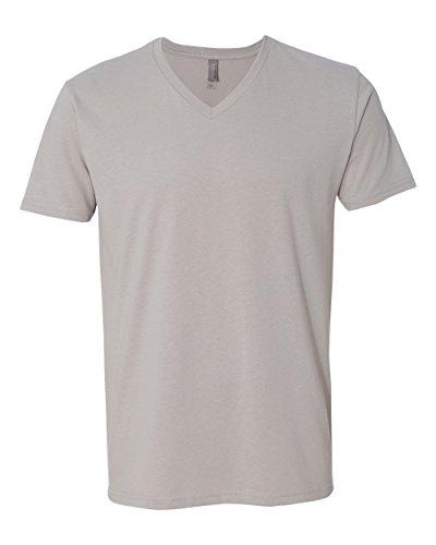 (Men's premium cotton / suede blend v-neck t-shirt. (Light Grey) (Medium))