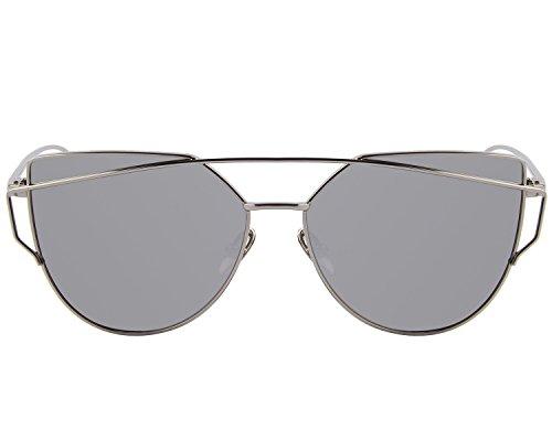 MERRY'S Brand Designer Candy Women's Fashion Sunglasses UV Protection Sexy Eyewear UV400 Goggles S7882 (Silver, 56)