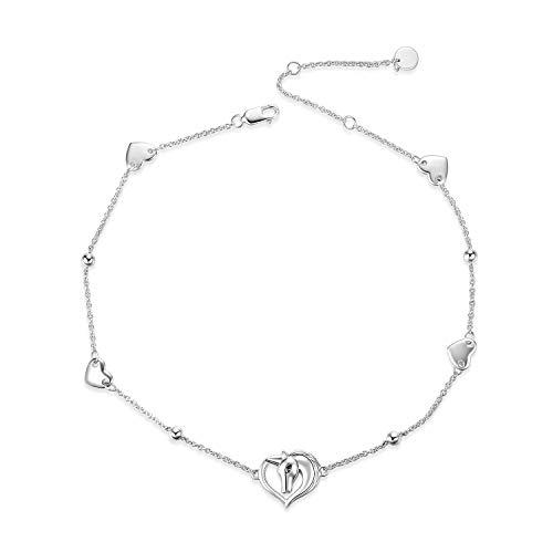 (WINNICACA Unicorn Anklet Sterling Silver Adjustable Unicorn Ankle Bracelets for Women Girls Gifts)