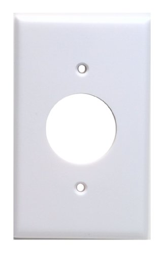 Leviton 88004 1-Gang Single 1.406-Inch Hole Device Receptacle Wallplate, Standard Size, Thermoset, Device Mount, White - Edge Single Hole