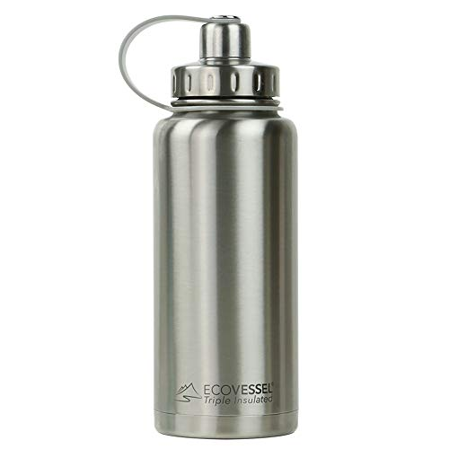 EcoVessel BOULDER TriMax Vacuum Insulated Stainless Steel Water Bottle with Versatile Stainless Steel Top and Tea, Fruit, Ice Strainer -