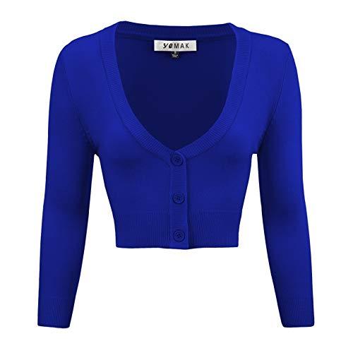 YEMAK Women's Cropped 3/4 Sleeve Bolero Button Down Cardigan Sweater CO129-RBL-4X Royal -