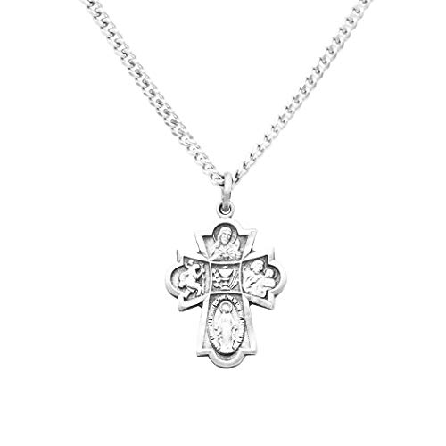 """Rosemarie Collections Religious Gift First Communion Four Way Cross Pendant Necklace 18"""""""