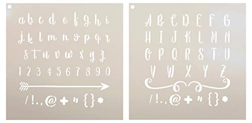 Lettering - Upper & Lower Case Alphabet Stencil - 2 Part by StudioR12 | Reusable Mylar Template | Use to Paint Wood Signs - Pillows - Monogram - DIY Lettering Projects - Select Size (12