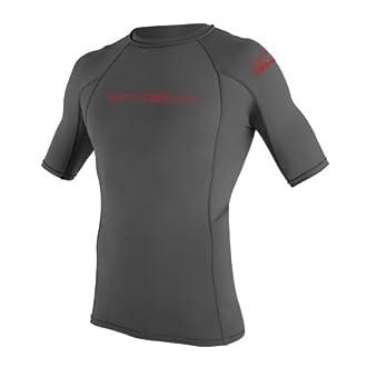 O'Neill UV 50+ Sun Protection Youth Basic Skins Short Sleeve Crew Sun Shirt Rash Guard, Graphite, 12