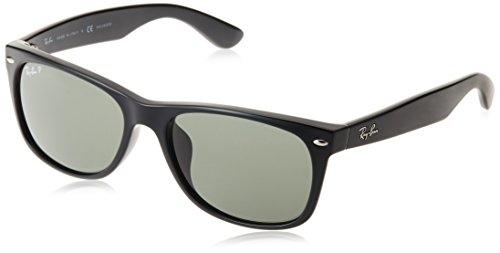Ray-Ban Men's RB2132F New Wayfarer (F) Sunglasses Black / Crystal Green Polarized - Ray Wayfarer Polarized 58mm Ban New