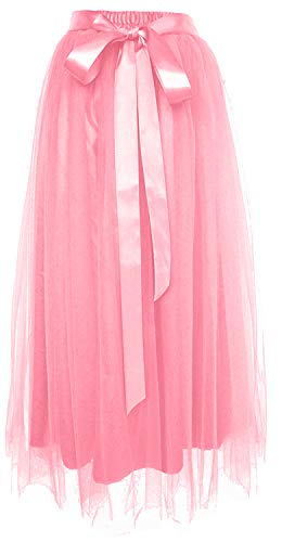 Dancina Women's Ankle Length Tutu Maxi A-line Long Tulle Skirt Plus (Size 12-22) Watermelon