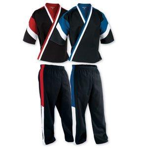 Century Martial Arts Tri-color Traditional Demo Team Uniform - Black/Red, 1 - Child (Tri Color Kids Jacket)