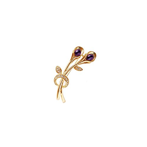 (Blue Pearls - Purple Freshwater Pearl and Cz Stone Brooch and Yellow Gold Mounting - BPS 1039 O Violet BPS 1039 O Violet)