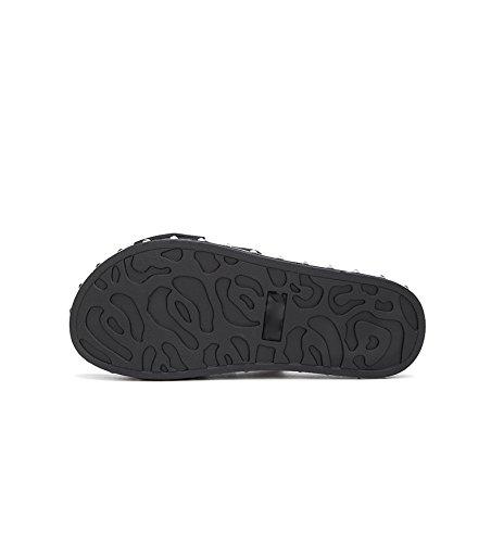 Verano Tacones de Mujer de Altos Sandalias bajo Sandalias Sólido Sandalias Zapatillas 38 de Ocasionales DHG Color Moda Dulces de Negro de de Tacón Planas Punta wtqB1Y0