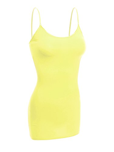 Emmalise Women Camisole Built in Bra Wireless Fabric Support Long Layering Cami, Small, Neon Yellow