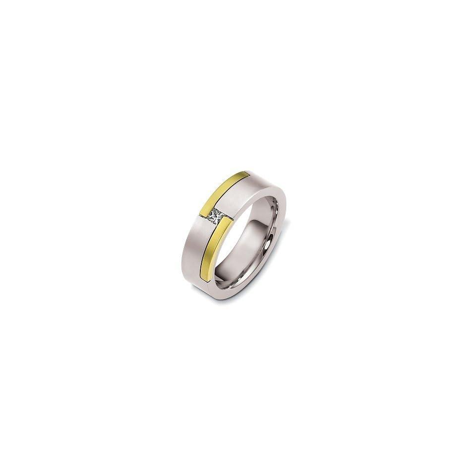 Designer 14 Karat Two Tone Gold Unique Solitaire Diamond Wedding Band Ring   11.25