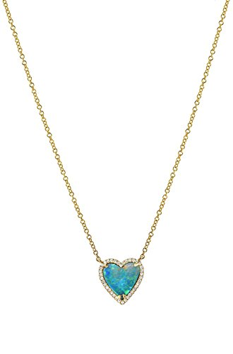 Diamond opal heart necklace, 14k solid gold, pave diamond by Zoe Lev Jewelry