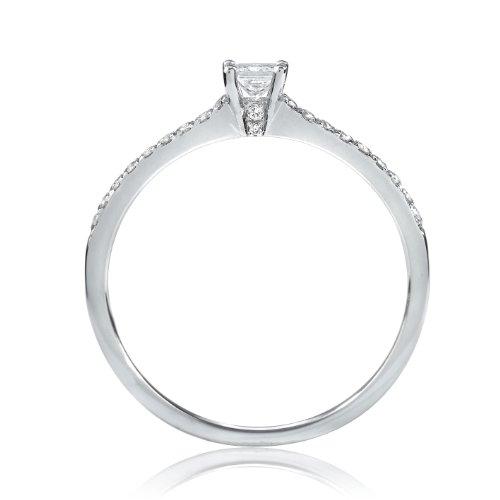 Tous mes bijoux - BADO01067 - Bague Solitaire Femme - Or blanc 750/00 1.4 gr - Diamant 0.2 cts