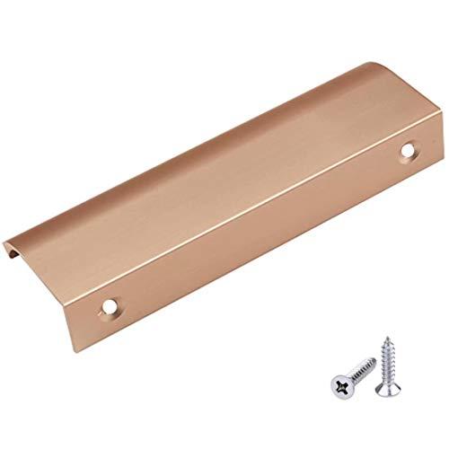 - FirstDecor 10 PCS Modern Style Finger Edge Pull Aluminum Metal Brushed Stainless Steel Drawer Knobs, Sliding Door Drawer Cabinet Hidden Handles, Champagne Golden Brush Finish