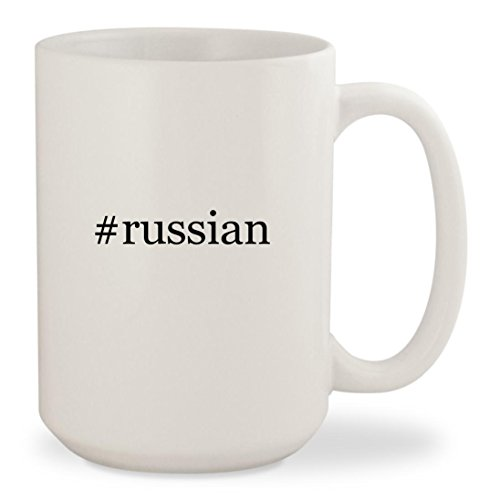 #russian - White Hashtag 15oz Ceramic Coffee Mug Cup (Keychain Terrier Watch)