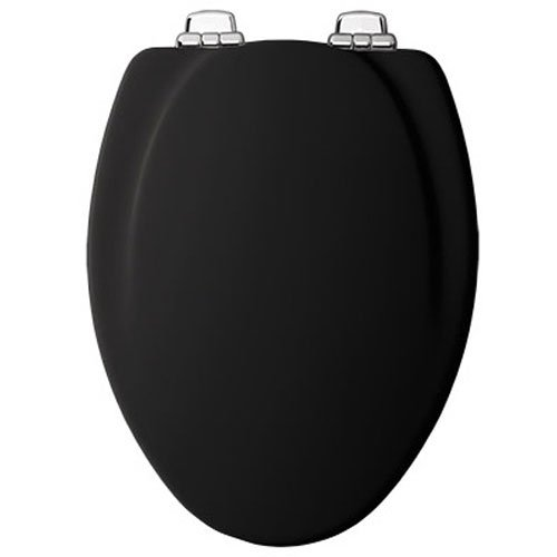 Mayfair Molded Wood Toilet Seat featuring Slow-Close, STA-TITE Seat Fastening System and Chrome Metal Hinges, Elongated, Black, 130CHSLB 047