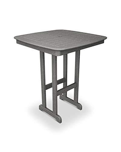 POLYWOOD NCBT37GY Nautical Bar Table, 37-Inch, Slate Grey