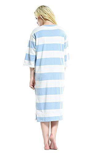 Moda Mujeres Elegante Cómoda Camisón Pijamas Las 4 Ropa Redondo Vintage 3 De Manga Blue Interior Suelta Impresos Cuello qqxHnPE7a